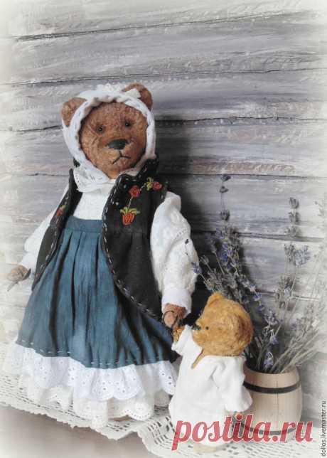 Купить Марта - мишка, тедди, деревня мишкино, винтаж, коллекционные медведи, ручная вышивка, черный