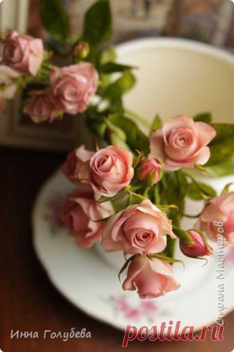 Кустовая роза из холодного фарфора. МК.   Страна Мастеров