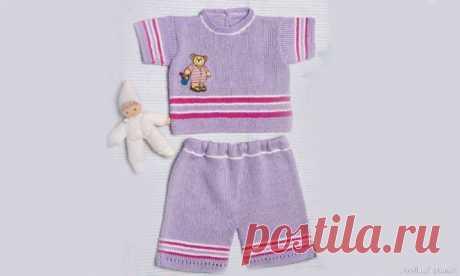 Лилово-розовый пуловер и штанишки для малыша. Описание и выкройка | Вязание спицами для детей Пуловер и штанишки спицами для малыша, теплые и уютные. Описаниевязания для детейпуловера и штанишек, выкройки бесплатно.ПуловерРазмер:74–80 (6–12 месяцев)Вам потребуется:100 г лиловой, по 50 г розовой и белой пряжи Florida (100% хлопка, 125 м/50 г), спицы № 3, набор чулочных спиц № 3,...