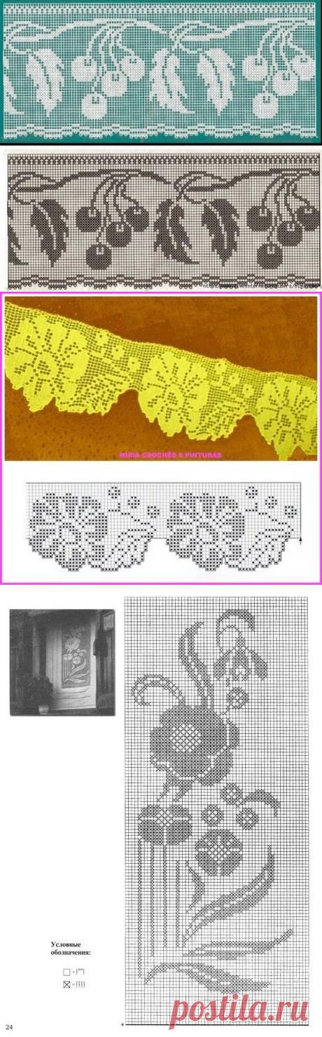 Филейное вязание - кайма, скатерть, салфетка, занавески