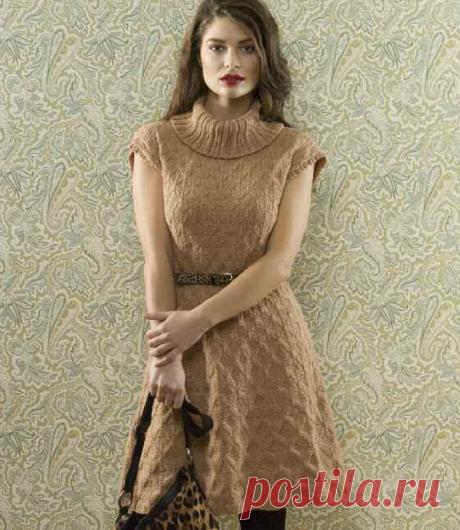 Красивое платье спицами+СХЕМА.Платье спицами с воротником-хомутом | Я Хозяйка