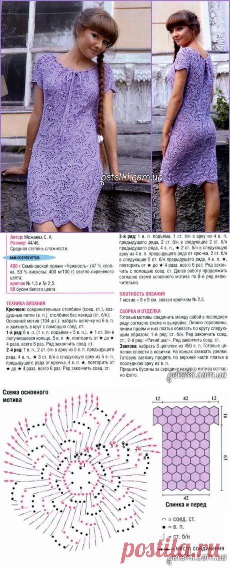 El vestido color lila de los motivos redondos por el gancho. La descripción, el esquema