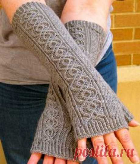 Knitting Pattern for Totally Cabled Fingerless Gloves