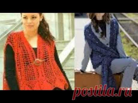 Модели женских жилеток, безрукавок крючком со схемами - Models of crocheted vests with diagrams
