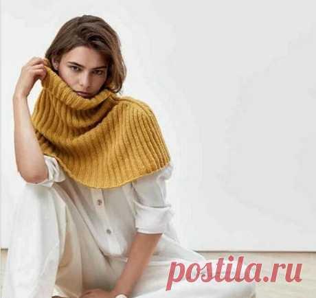 Тёплый воротник-оплечье спицами. / vsesviazano.blogspot.com