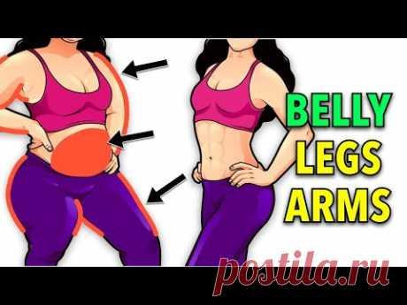 30 Min NO JUMPING Full Body Fat Burn (Belly, Legs, Arms)