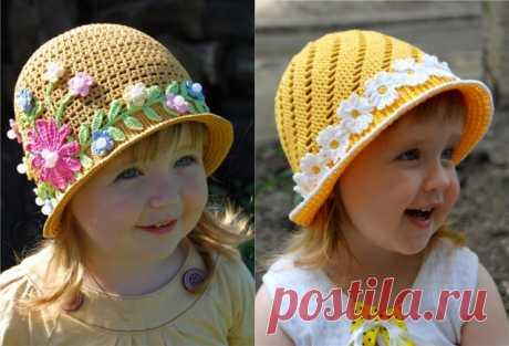 Чудесные летние шляпки-панамки для девочек. / Вязание крючком / Детская одежда крючком. Схемы