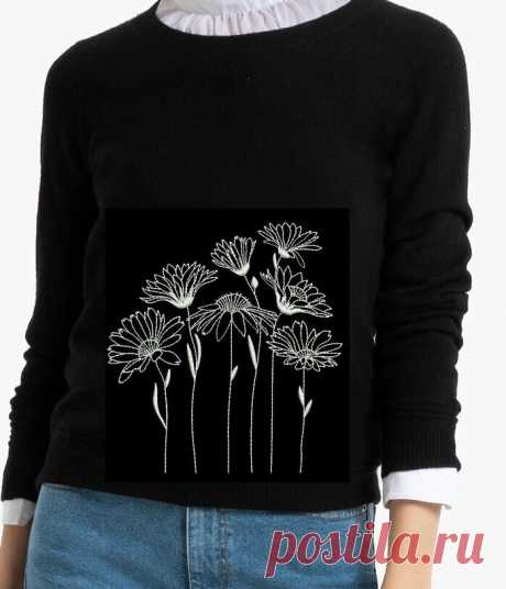 Украсить джемпер вышивкой: полевые цветы и одуванчики