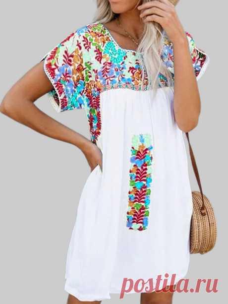 Цветочный принт с короткими рукавами, мини-Платье Ваш друг поделился с вами модным сайтом и дает вам скидку до 20%! требуй это сейчас.