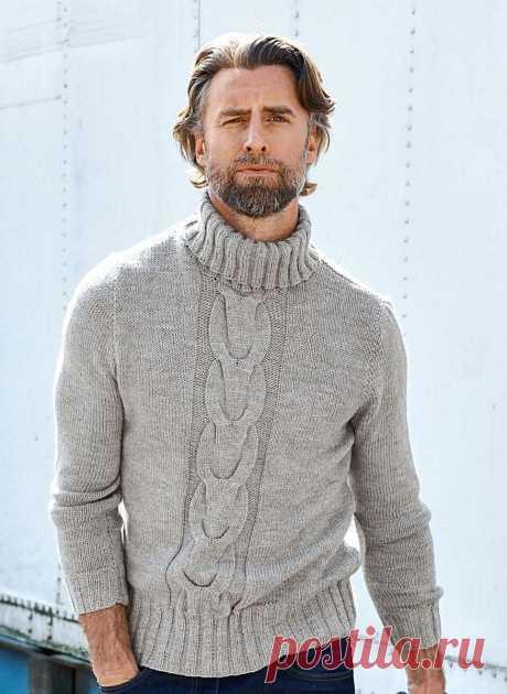 """купить мужской свитер - вязаный мужской свитер купить - мужской свитер - Ksena Мужской свитер с высокой горловиной. 100% Ручная работа. Уютный тёплый свитерок, пряжа с добавкой альпаки - это то что нужно в холодную пору, длина примерно 65см., горловина высокая, можно сложить в двое, по центру красивый одиночный узор """"коса"""". Выберите свой цвет - в этом сезоне властвуют оттенки синего, напоминающие разлитые чернила, оттенки красного, бордового, желтого, голубого, серо-зелены..."""