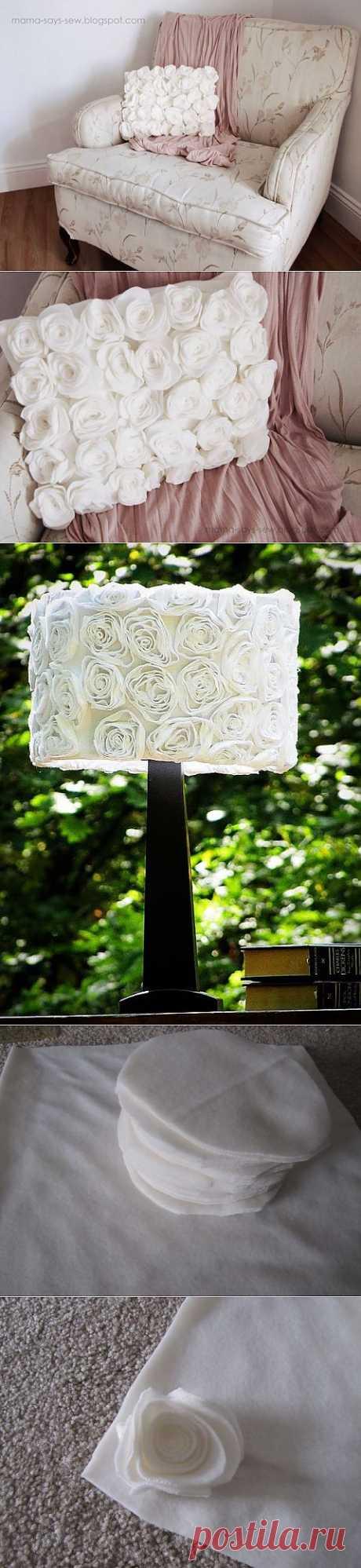 Нежная подушка с розами из флиса и декорирование старого абажура.
