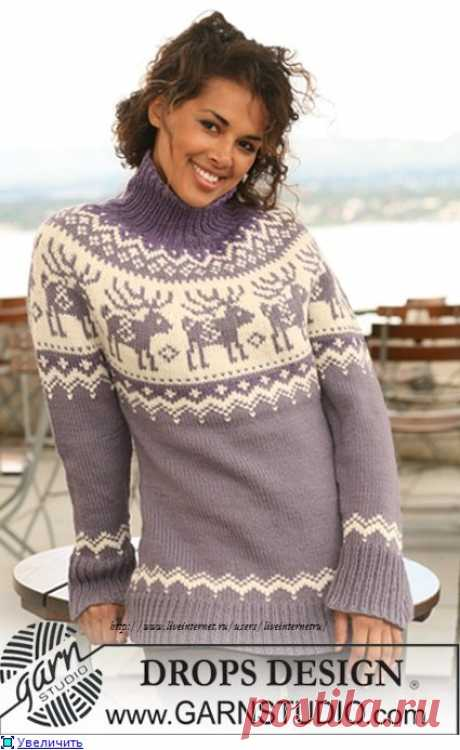 Пуловер с круглой кокеткой с оленями Drops.