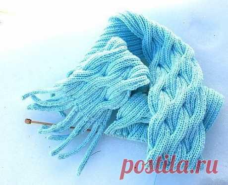 Шарфик цвета морской волны (Вязание спицами)   Журнал Вдохновение Рукодельницы