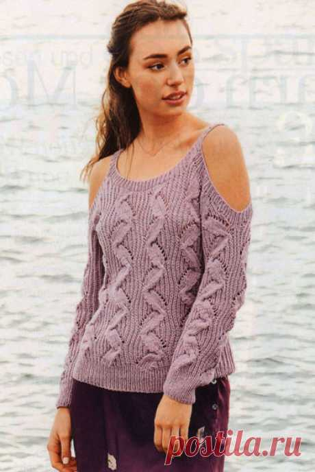 Летний пуловер с открытыми плечами
