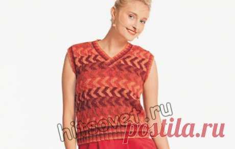 Вязание спицами для женщин стильного жаккардового жилета со схемой и пошаговым бесплатным описанием.