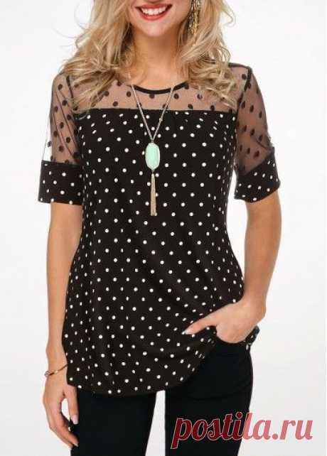 Polka Dot Short Sleeve Lace Patchwork Blouse Round Neck USD $16.28 #PolkaDotShortSleeveBlouse #BlackBlouse #Rotita