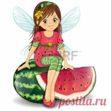 Иллюстрация Character of fantasy fairy sitting on a strawberry-various levels-editable-transparency blending effects and gradient mesh векторной графики, клипарта и набор векторов. Image 29138653.