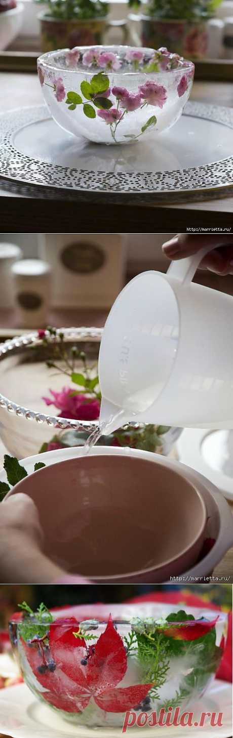 Ледяная розовая ваза | Очумелые ручки