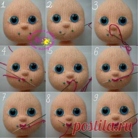 Как вышивать губы вязаным куклам
