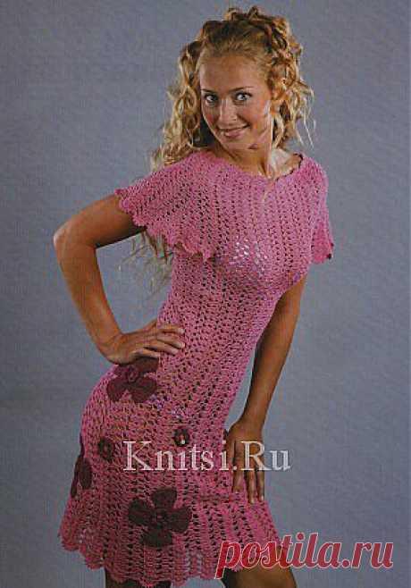 Розовое платье с цветами. Вязание для женщин / Платья / Крючком