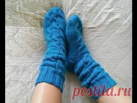 """How to knit a heel. Socks with """"косами"""" and the extended shin! Master class. Part 2."""