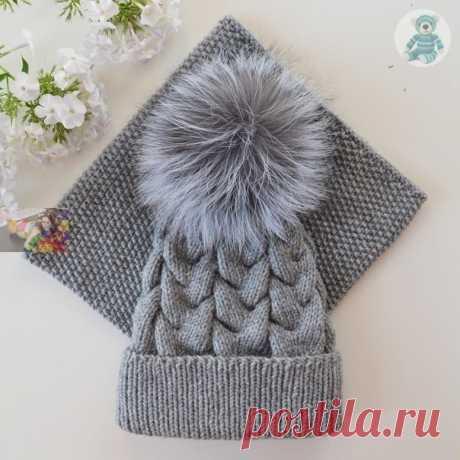 Комплект из шапки и снуда (Вязание спицами) Пряжа ализе ланаголд