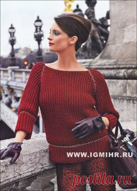 Красно-коричневый пуловер-реглан с рукавами 3/4, от французских дизайнеров BDF. Спицы