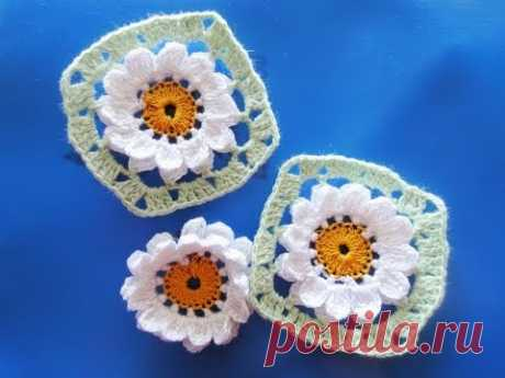 Flower in a square of Flower Crochet squared