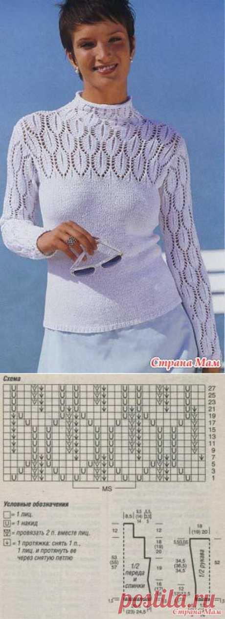 Вязание: пуловер с ажурными рукавами и кокеткой.