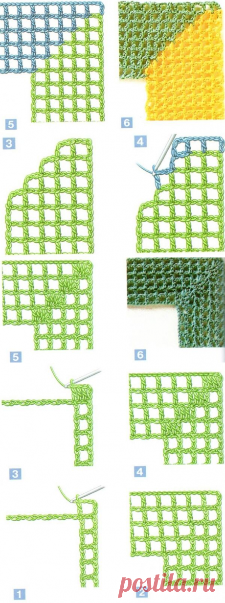 Вяжем крючком углы в технике филейное вязание