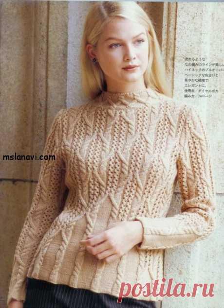 Вязаный пуловер спицами с аранами | Вяжем с Лана Ви