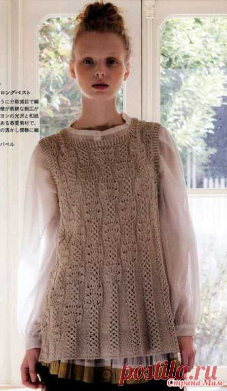 The extended sleeveless jacket with very interesting pattern. Spokes. - KNITTED FASHION + FOR NOT MODEL LADIES - the Country of Mothers