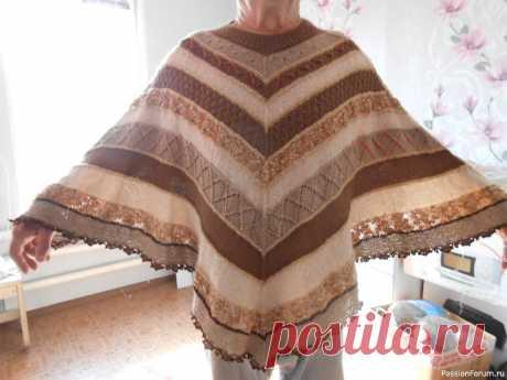 Пончо-чайка, как вариант пристроить остатки пряжи. | Вязание для женщин спицами. Схемы вязания спицами