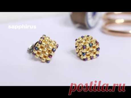 【ビーズステッチ】丸小ビーズで作るキュービックピアス✨作り方 ライトアングルウィーブ How to make beaded stud earrings with seed beads. Cubic