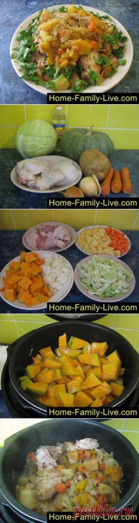 Дамлама - пошаговый фоторецепт - курица овощи и тыква в мультиварке