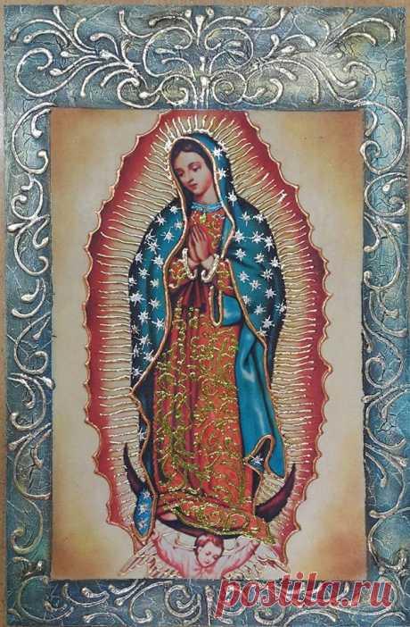 VIRGEN DE GUADALUPE Imagen decorada con tintilla color oro