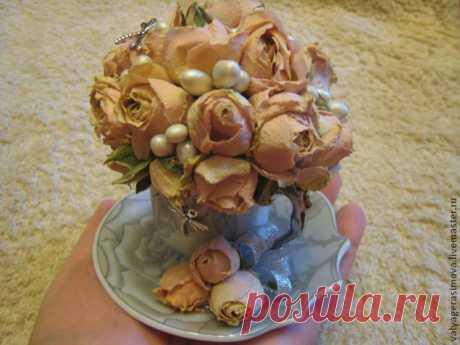 Букет из роз в кофейной чашке, или Как сделать милый сувенир | Журнал Ярмарки Мастеров