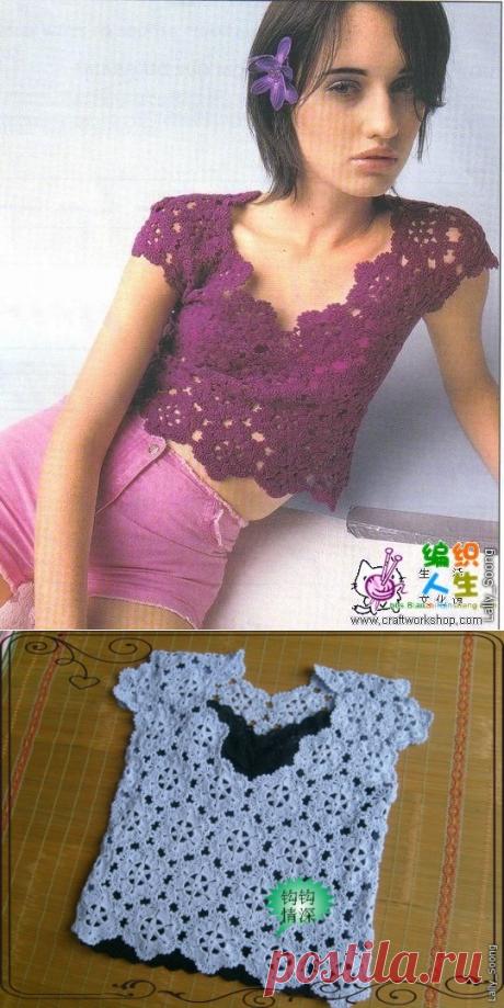 Вязание крючком для женщин Блуза