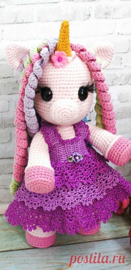 PDF Волшебная Единорожка крючком. FREE crochet pattern; Аmigurumi doll patterns. Амигуруми схемы и описания на русском. Вязаные игрушки и поделки своими руками #amimore - единорог, единорожка.