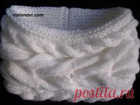 (+2) Двойной шарф-снуд (вязание спицами, видео мастер-класс)