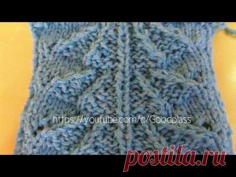 """Knitting of a pattern of """"Ведмежья лапка"""". Knitting by spokes."""