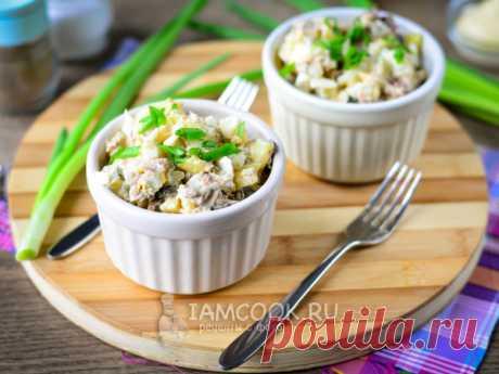 Салат из рыбных консервов с картошкой и яйцом — рецепт с фото Сочетайте рыбные консервы с отварным картофелем и яйцами. Для пикантности добавьте соленые огурцы, перья лука и заправьте вкусным майонезом.