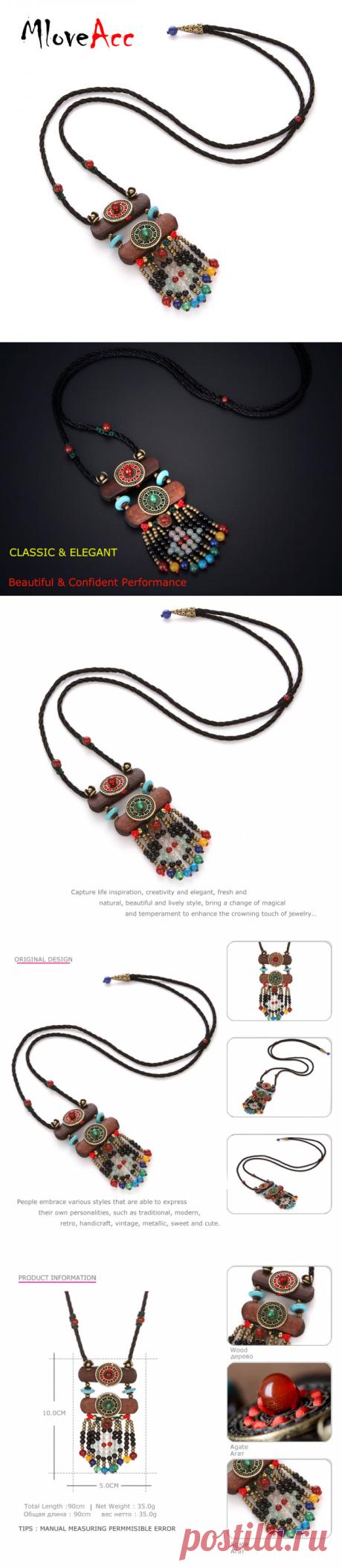 Mloveacc Новый Boho Длинные дерево черный Бусины Подвески для Для женщин аксессуар Натуральный камень Этническая Тибетский Bohemians Цепочки и ожерелья купить на AliExpress