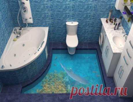 15 идей неповторимых 3D полов для ванной комнаты Оказывается фресками можно украсить не только стены, но и обновить пол, например в ванной. Оригинальное напольное покрытие сделает вашу ванную неповторимой.