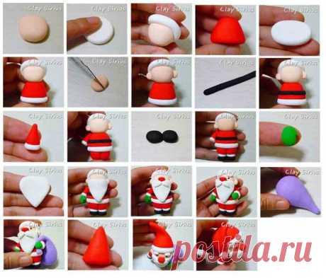 Лепим с детьми из пластилина Деда Мороза