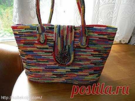 Вязание крючком из пакетов: вяжем сумочку с ручками обычными столбиками без накида