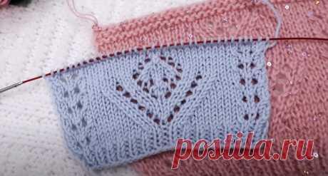 Красивый и несложный ажурный узор +Схема (Вязание спицами) – Журнал Вдохновение Рукодельницы