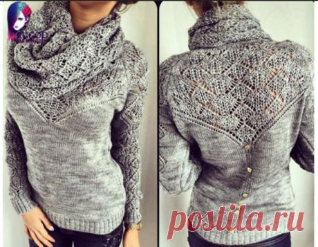 Пуловер с воротником-шаль.Спицы — HandMade