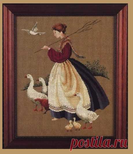 Пастушка. Вышивка крестом.
