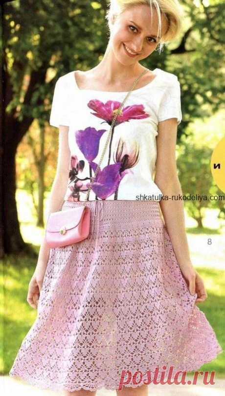 """Юбка """"Пильная роза"""" Юбка пильная роза крючком. Летняя короткая юбка из хлопка крючком"""